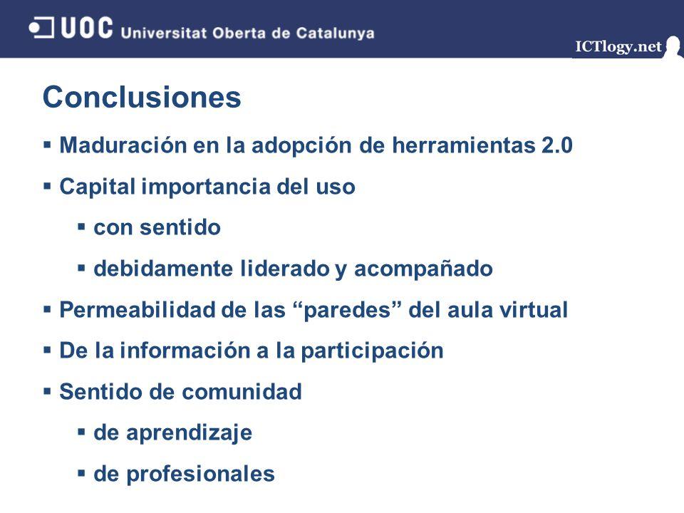 Conclusiones Maduración en la adopción de herramientas 2.0