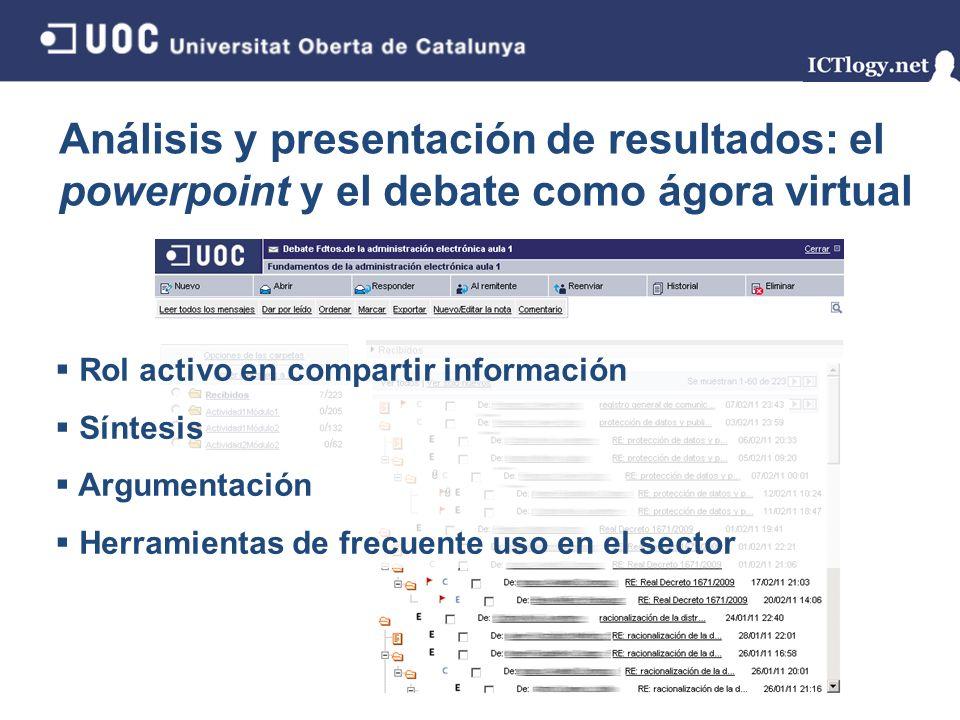 Análisis y presentación de resultados: el powerpoint y el debate como ágora virtual