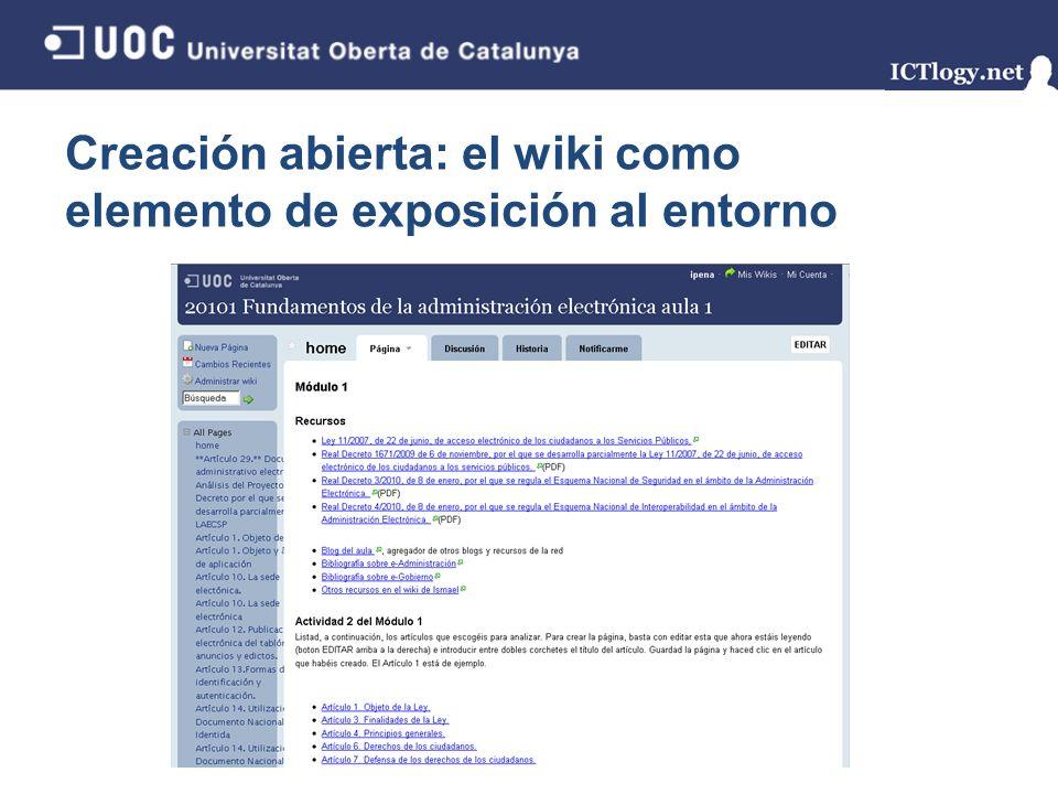 Creación abierta: el wiki como elemento de exposición al entorno