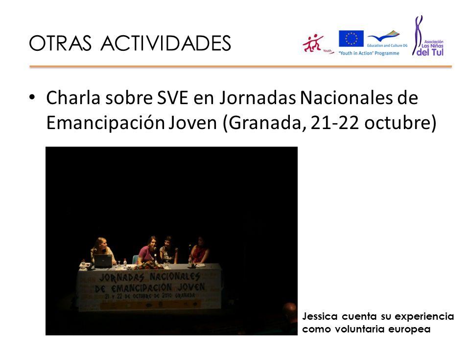 OTRAS ACTIVIDADES Charla sobre SVE en Jornadas Nacionales de Emancipación Joven (Granada, 21-22 octubre)