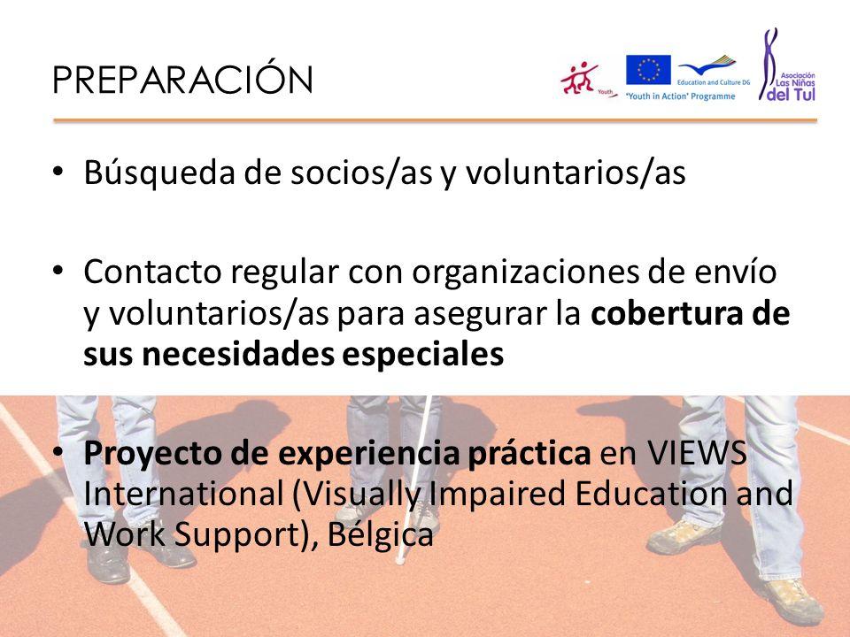 PREPARACIÓN Búsqueda de socios/as y voluntarios/as.