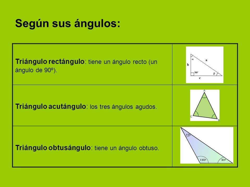 Según sus ángulos: Triángulo rectángulo: tiene un ángulo recto (un ángulo de 90º). Triángulo acutángulo: los tres ángulos agudos.