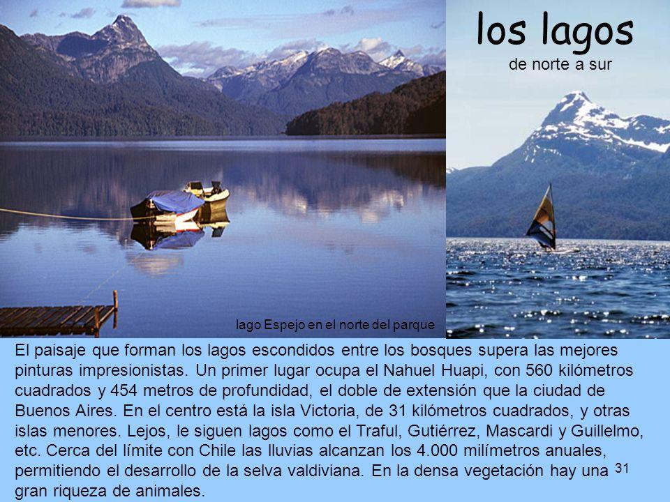 los lagos de norte a sur lago Espejo en el norte del parque.