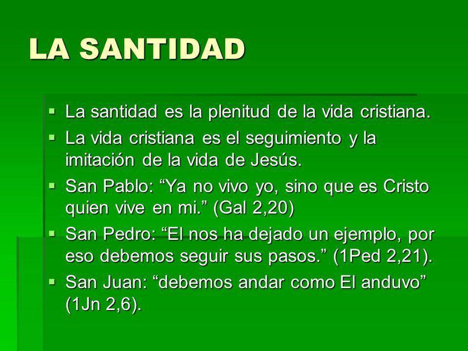 LA SANTIDAD La santidad es la plenitud de la vida cristiana.