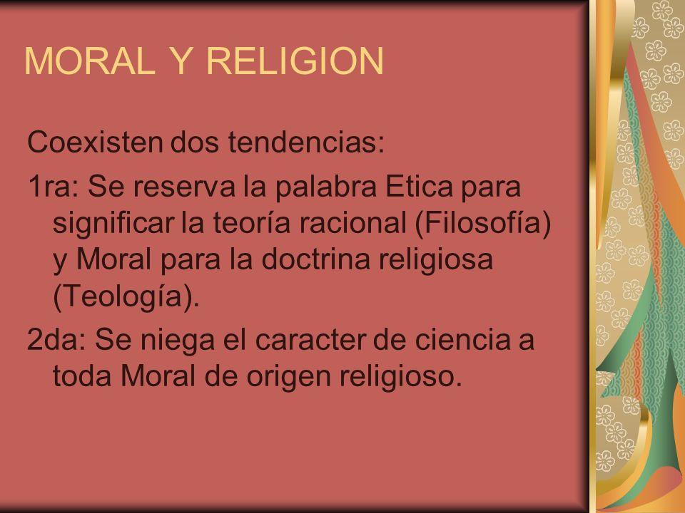 MORAL Y RELIGION Coexisten dos tendencias: