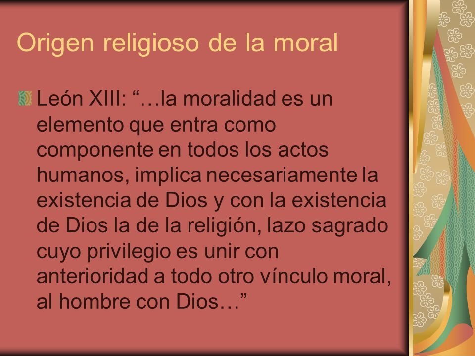 Origen religioso de la moral