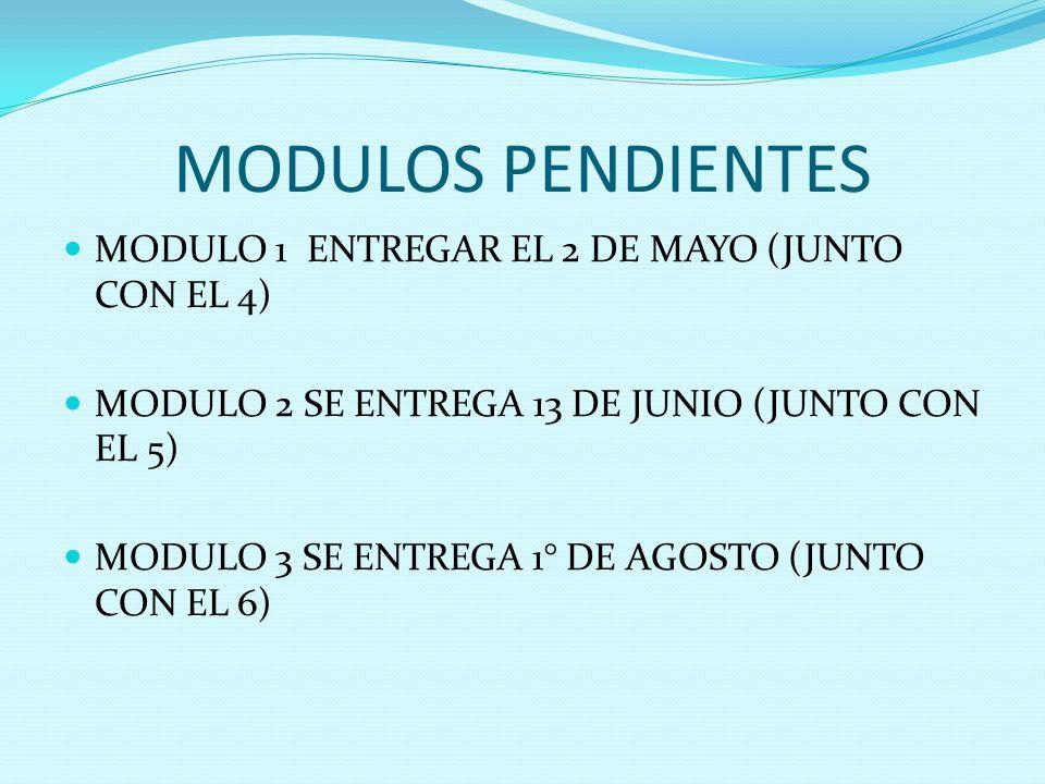 MODULOS PENDIENTES MODULO 1 ENTREGAR EL 2 DE MAYO (JUNTO CON EL 4)