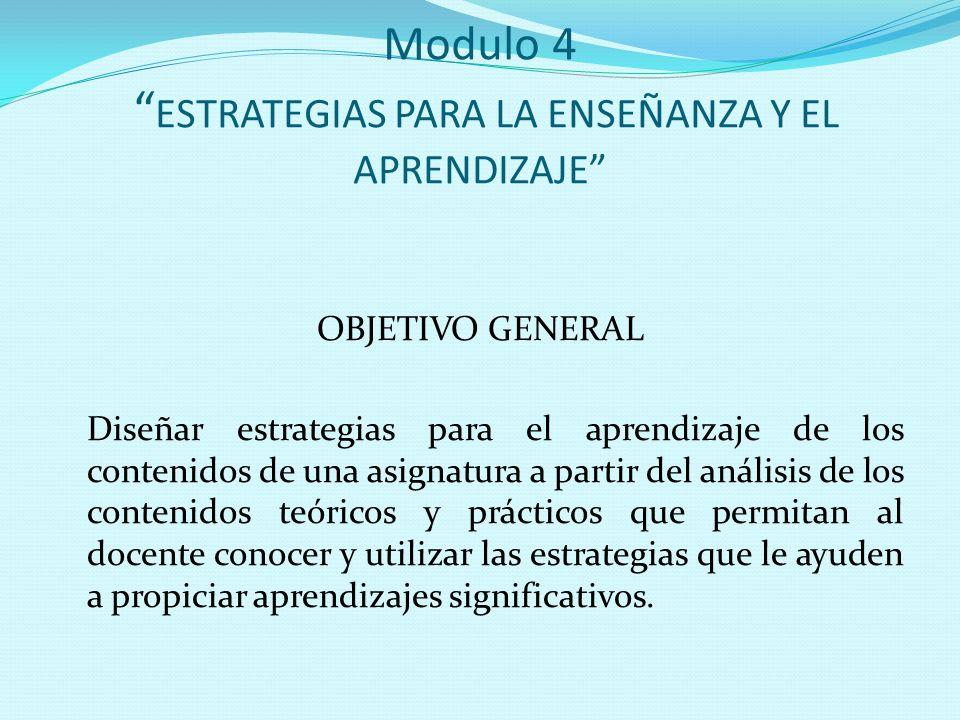Modulo 4 ESTRATEGIAS PARA LA ENSEÑANZA Y EL APRENDIZAJE