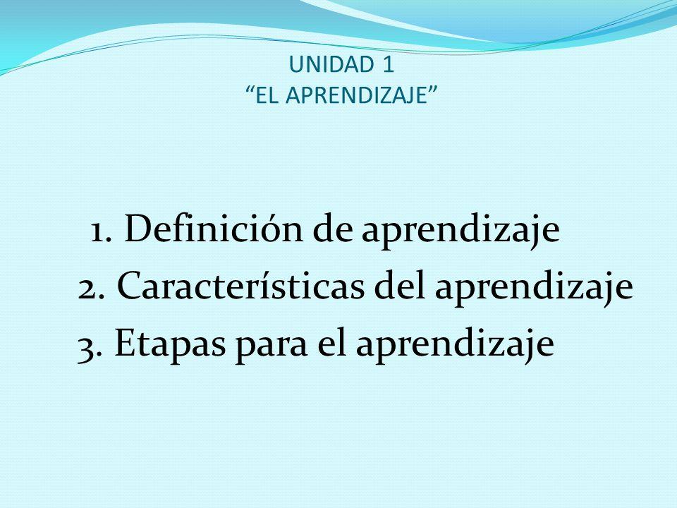 UNIDAD 1 EL APRENDIZAJE