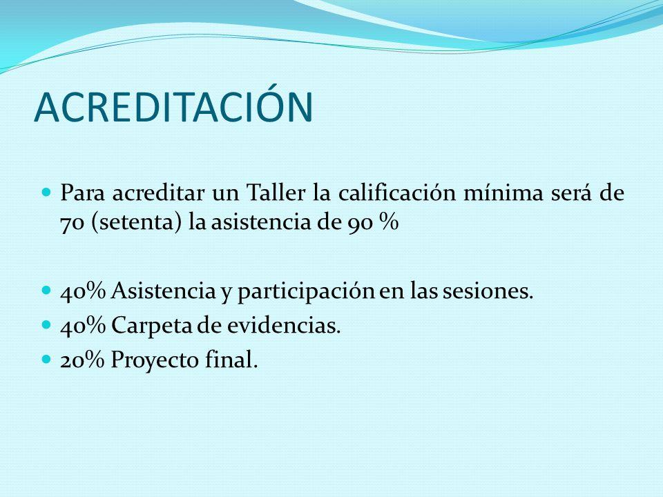 ACREDITACIÓN Para acreditar un Taller la calificación mínima será de 70 (setenta) la asistencia de 90 %