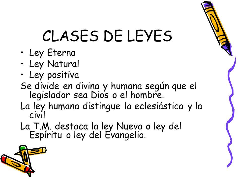 CLASES DE LEYES Ley Eterna Ley Natural Ley positiva