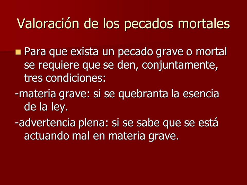 Valoración de los pecados mortales