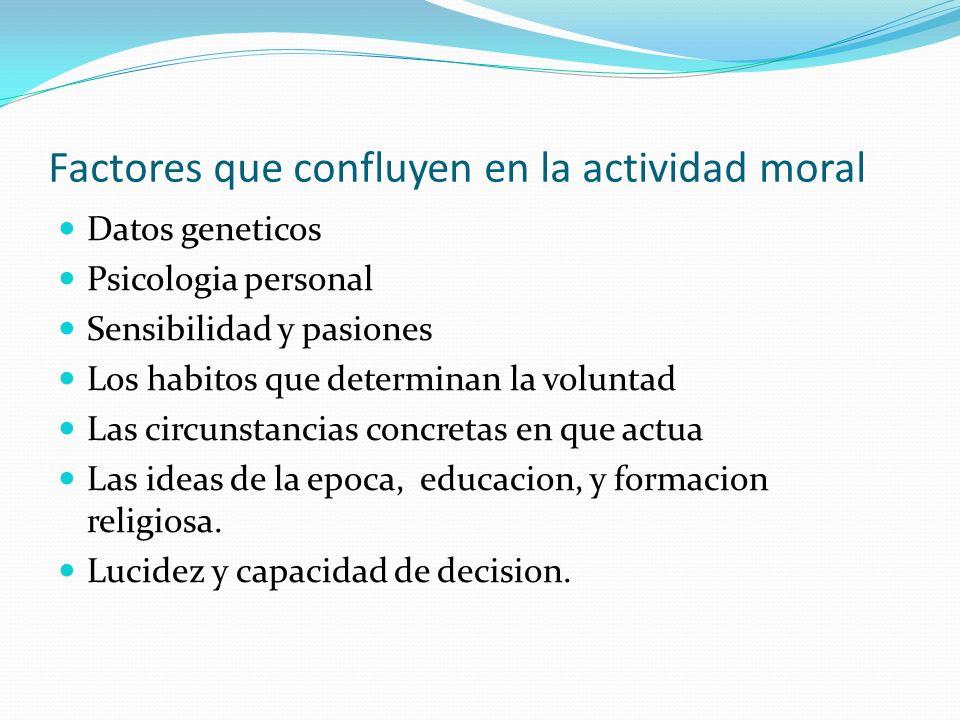 Factores que confluyen en la actividad moral
