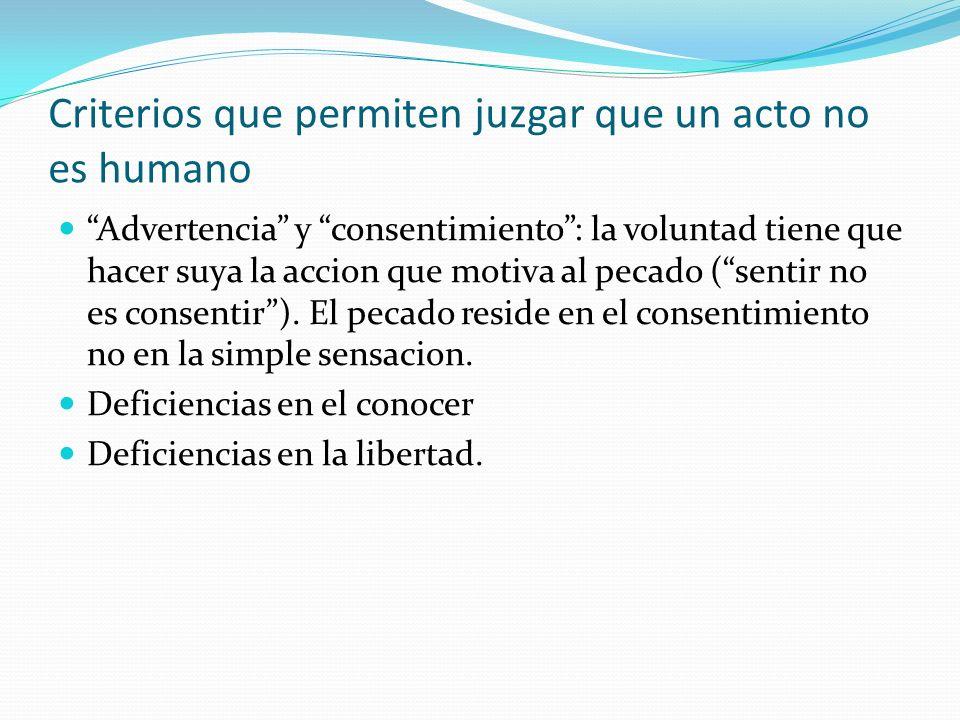 Criterios que permiten juzgar que un acto no es humano