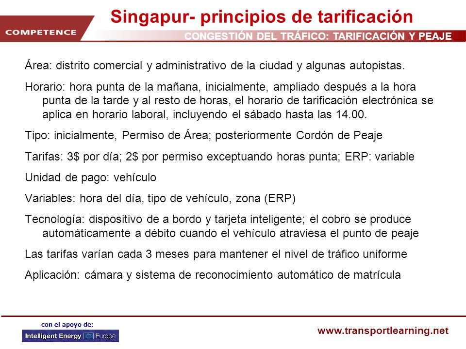 Singapur- principios de tarificación