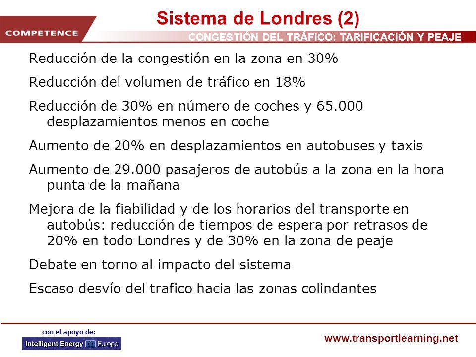 Sistema de Londres (2) Reducción de la congestión en la zona en 30%