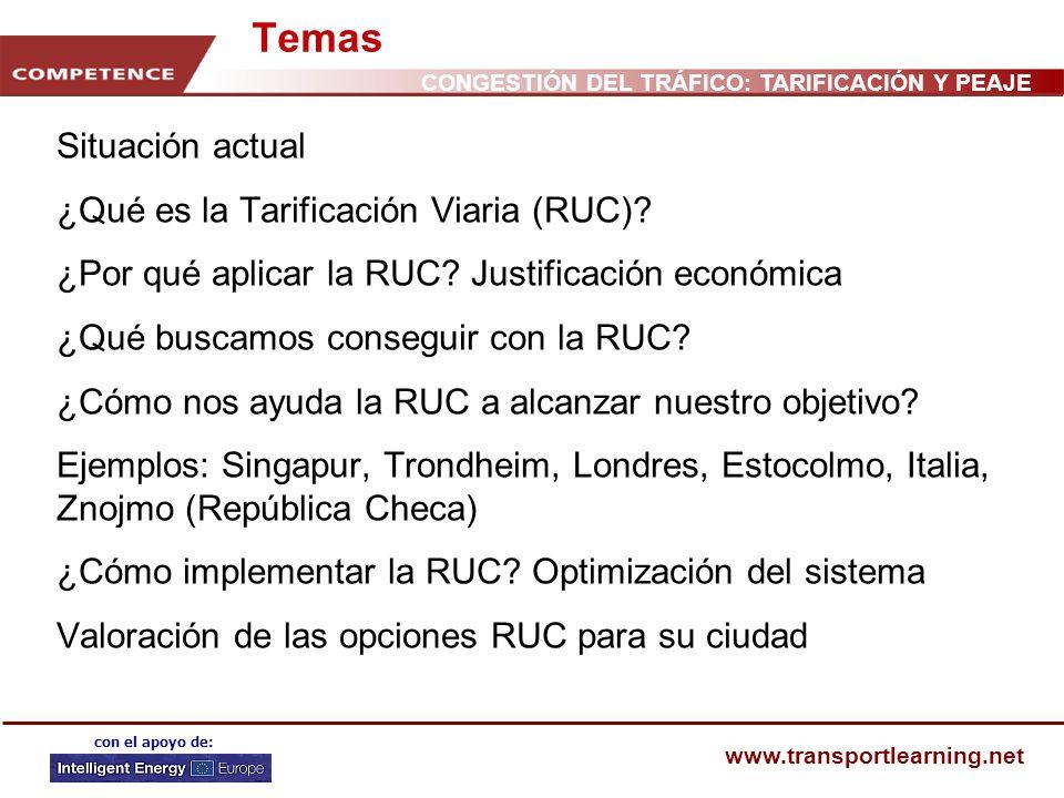 Temas Situación actual ¿Qué es la Tarificación Viaria (RUC)