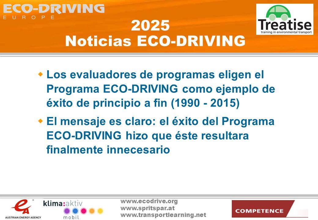 2025 Noticias ECO-DRIVING Los evaluadores de programas eligen el Programa ECO-DRIVING como ejemplo de éxito de principio a fin (1990 - 2015)