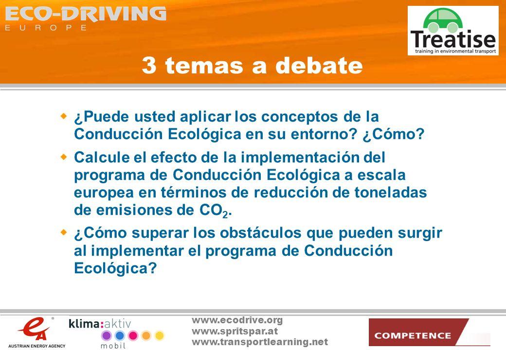 3 temas a debate ¿Puede usted aplicar los conceptos de la Conducción Ecológica en su entorno ¿Cómo