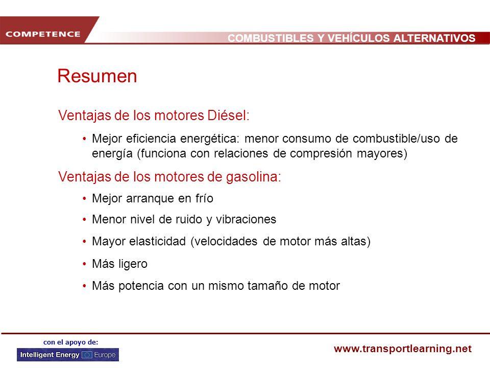 Resumen Ventajas de los motores Diésel: