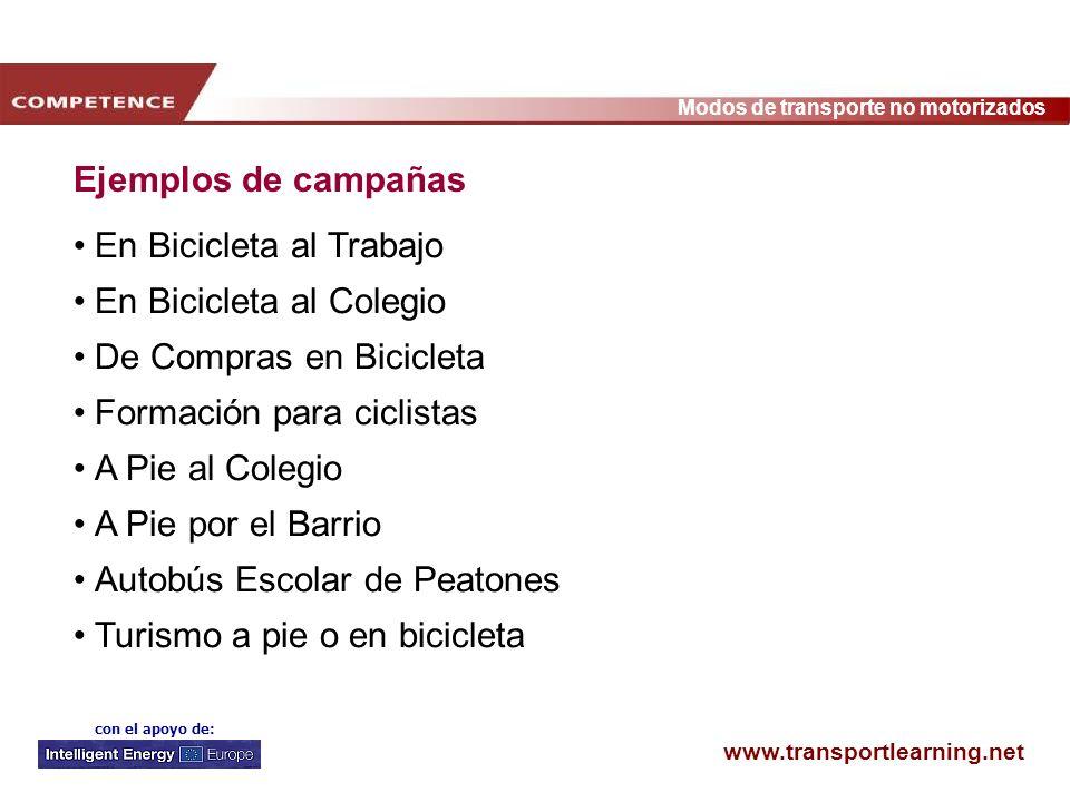 Ejemplos de campañas En Bicicleta al Trabajo. En Bicicleta al Colegio. De Compras en Bicicleta. Formación para ciclistas.