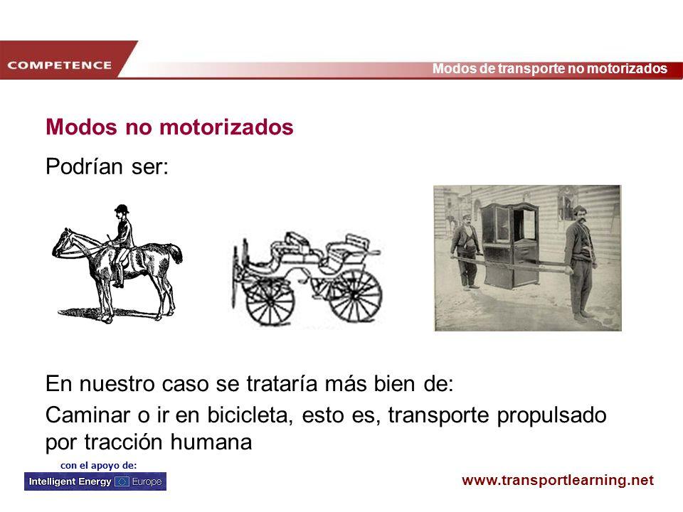 Modos no motorizados Podrían ser: En nuestro caso se trataría más bien de: