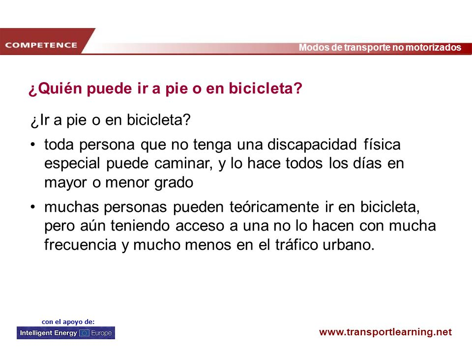 ¿Quién puede ir a pie o en bicicleta