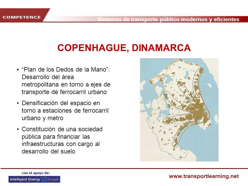 COPENHAGUE, DINAMARCA Plan de los Dedos de la Mano : Desarrollo del área metropolitana en torno a ejes de transporte de ferrocarril urbano.