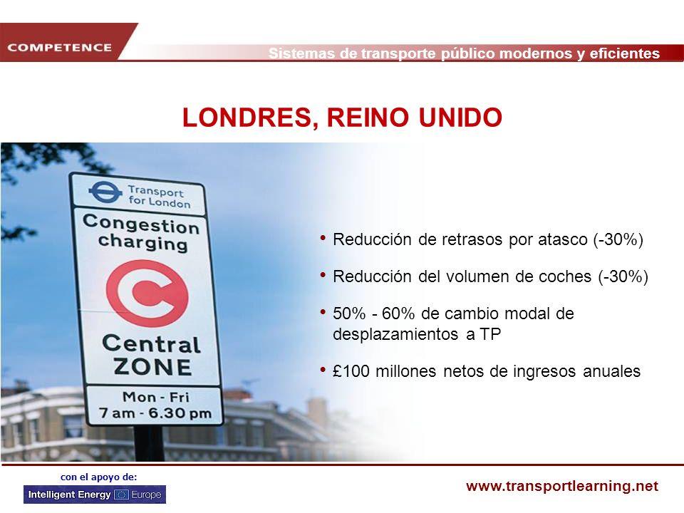 LONDRES, REINO UNIDO Reducción de retrasos por atasco (-30%)