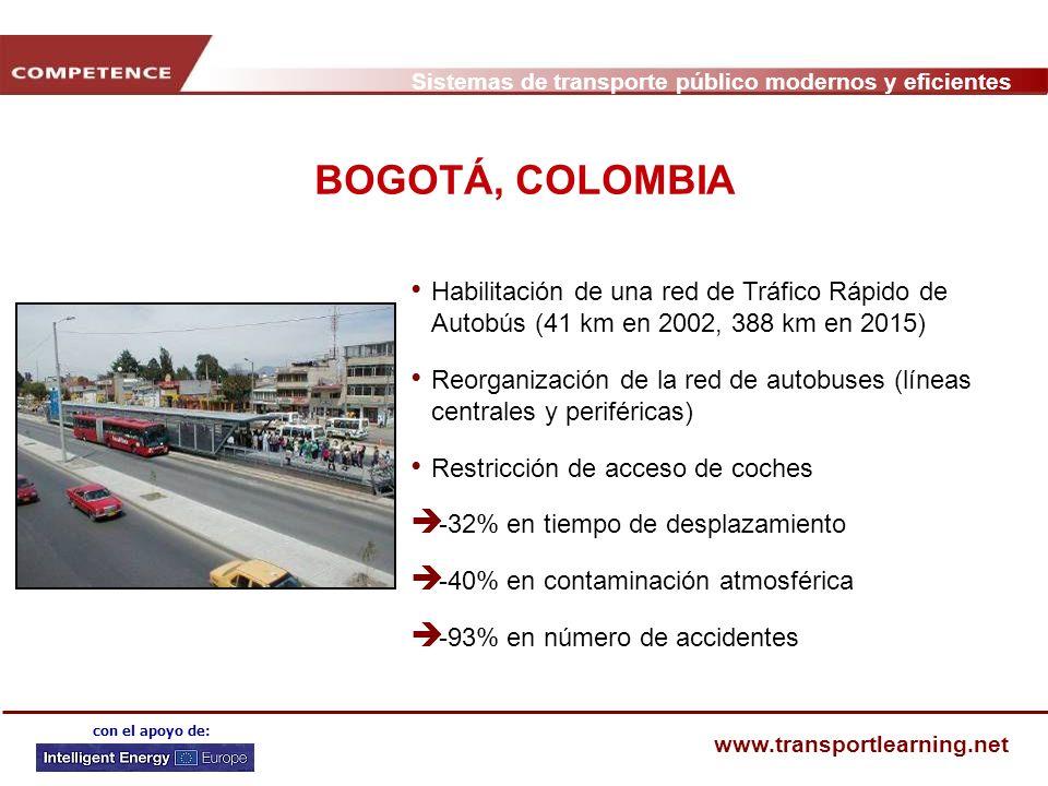 BOGOTÁ, COLOMBIAHabilitación de una red de Tráfico Rápido de Autobús (41 km en 2002, 388 km en 2015)