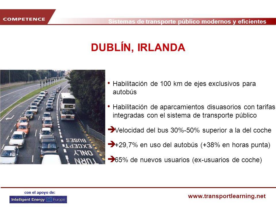 DUBLÍN, IRLANDA Habilitación de 100 km de ejes exclusivos para autobús