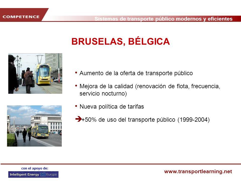 BRUSELAS, BÉLGICA Aumento de la oferta de transporte público