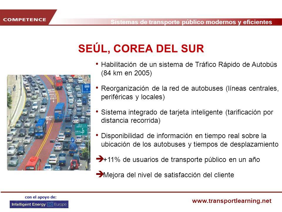 SEÚL, COREA DEL SUR Habilitación de un sistema de Tráfico Rápido de Autobús (84 km en 2005)