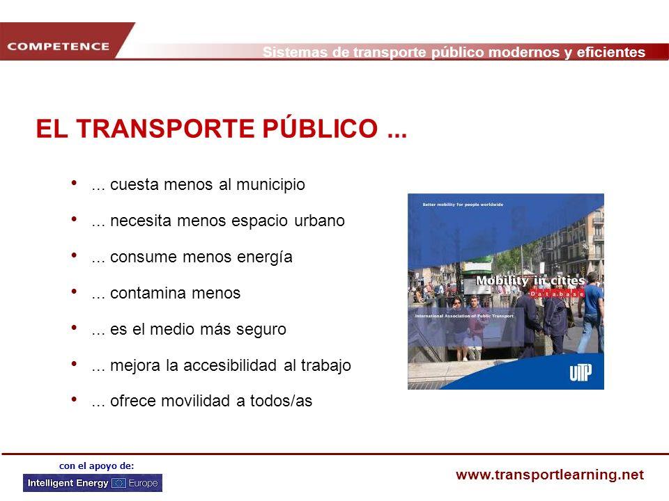 EL TRANSPORTE PÚBLICO ... ... cuesta menos al municipio