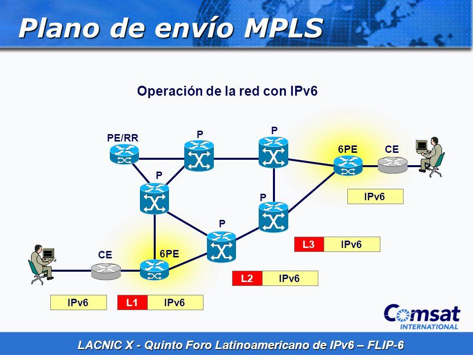 Plano de envío MPLS Operación de la red con IPv6 P P PE/RR 6PE CE P P