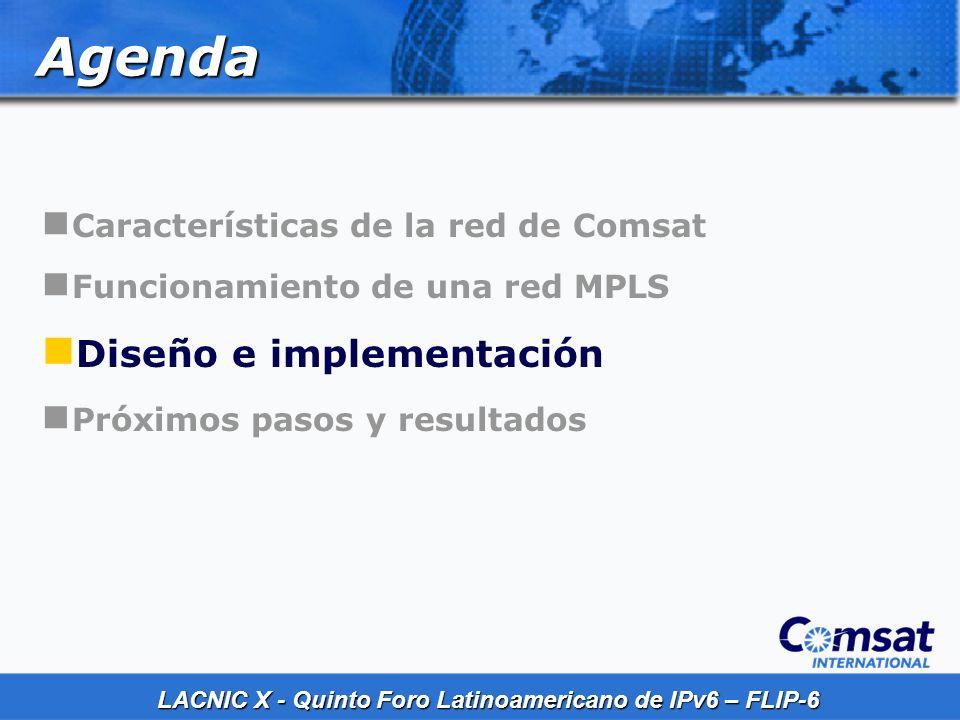 Agenda Diseño e implementación Características de la red de Comsat