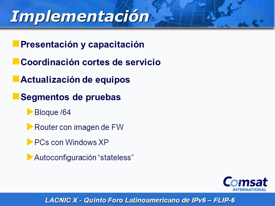 Implementación Presentación y capacitación