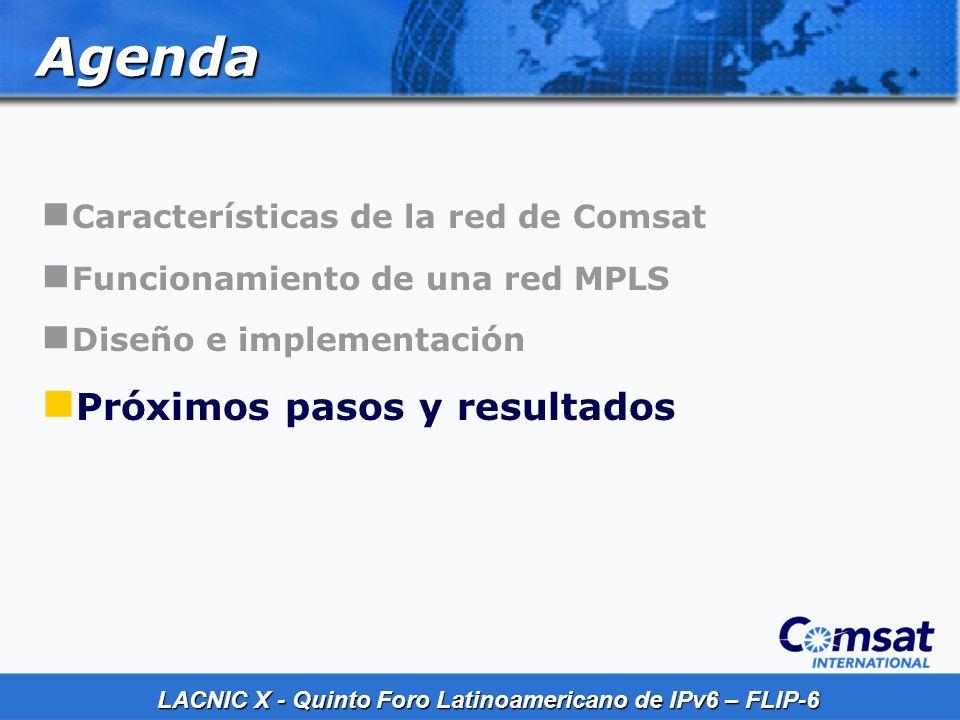 Agenda Próximos pasos y resultados Características de la red de Comsat