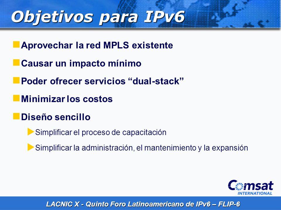 Objetivos para IPv6 Aprovechar la red MPLS existente