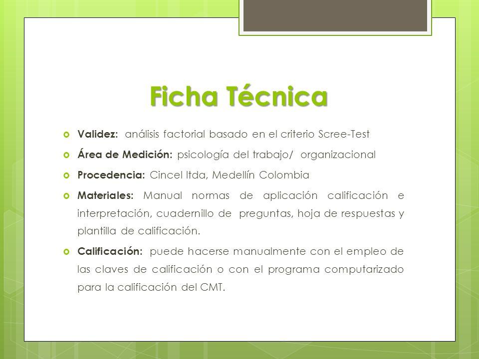 Ficha Técnica Validez: análisis factorial basado en el criterio Scree-Test. Área de Medición: psicología del trabajo/ organizacional.