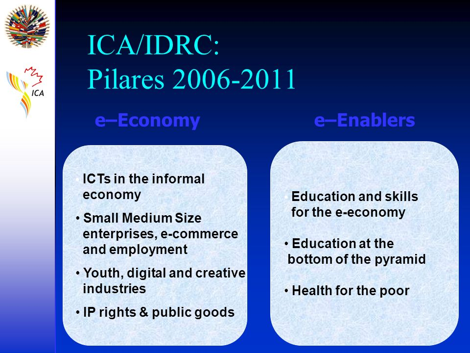 ICA/IDRC: Pilares 2006-2011 e–Economy e–Enablers for the e-economy