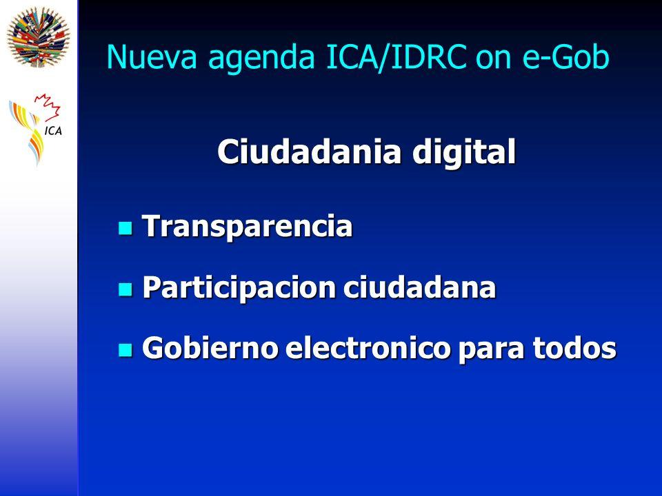 Nueva agenda ICA/IDRC on e-Gob