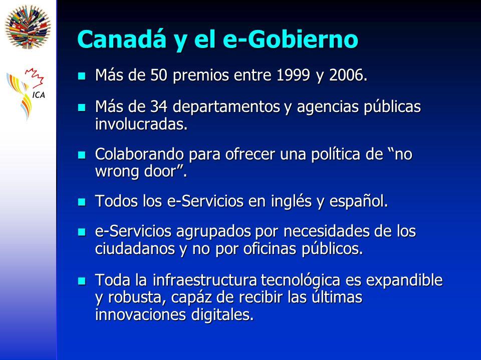 Canadá y el e-Gobierno Más de 50 premios entre 1999 y 2006.
