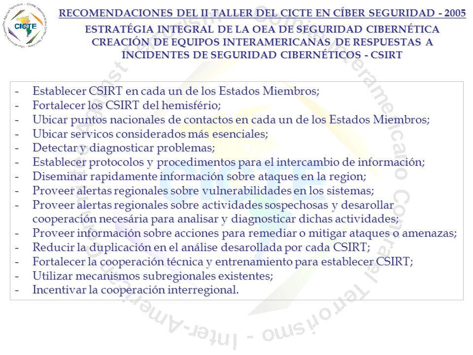Establecer CSIRT en cada un de los Estados Miembros;