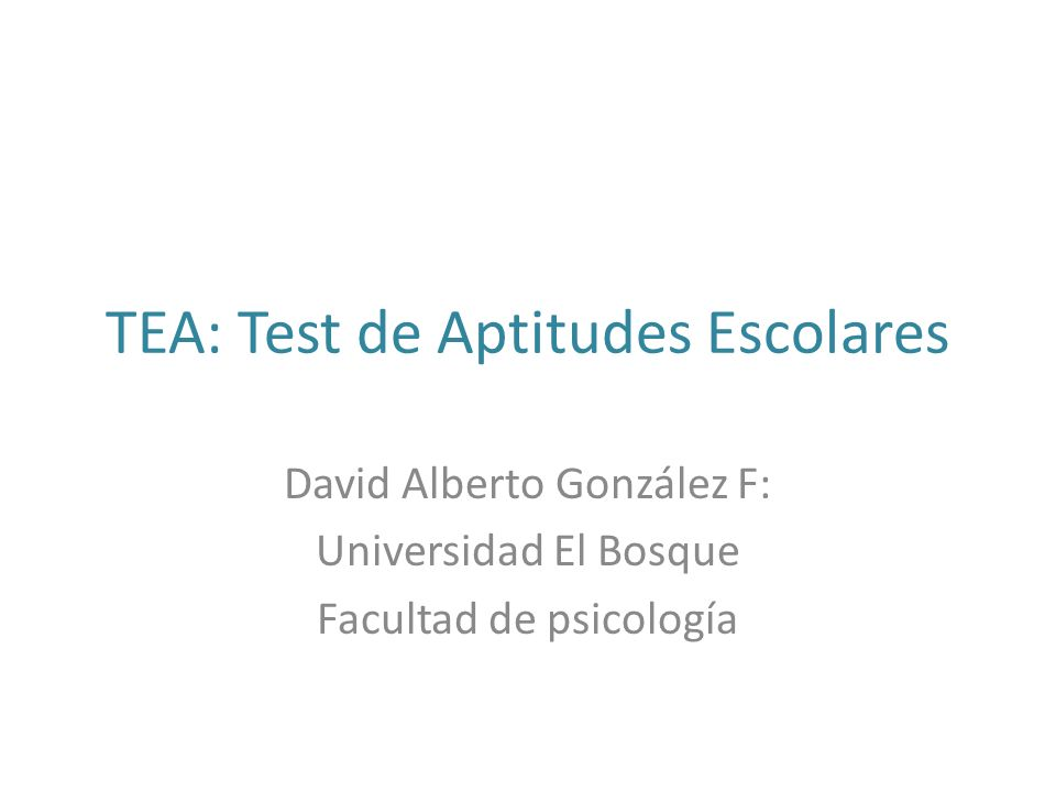 TEA: Test de Aptitudes Escolares