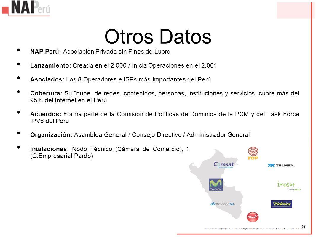 Otros Datos NAP.Perú: Asociación Privada sin Fines de Lucro