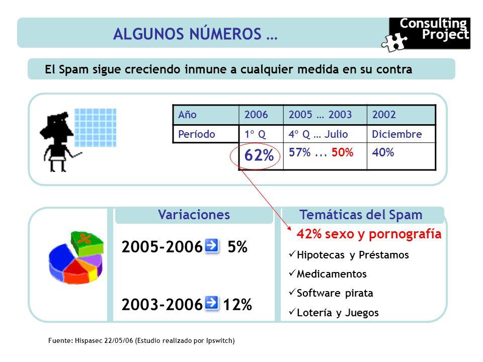 ALGUNOS NÚMEROS … 62% 2005-2006 5% 2003-2006 12% Consulting Project