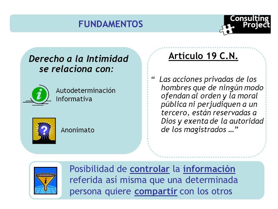 Derecho a la Intimidad se relaciona con: Artículo 19 C.N.