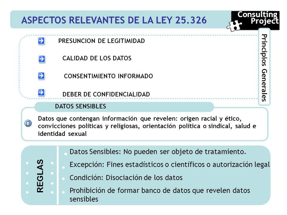 ASPECTOS RELEVANTES DE LA LEY 25.326