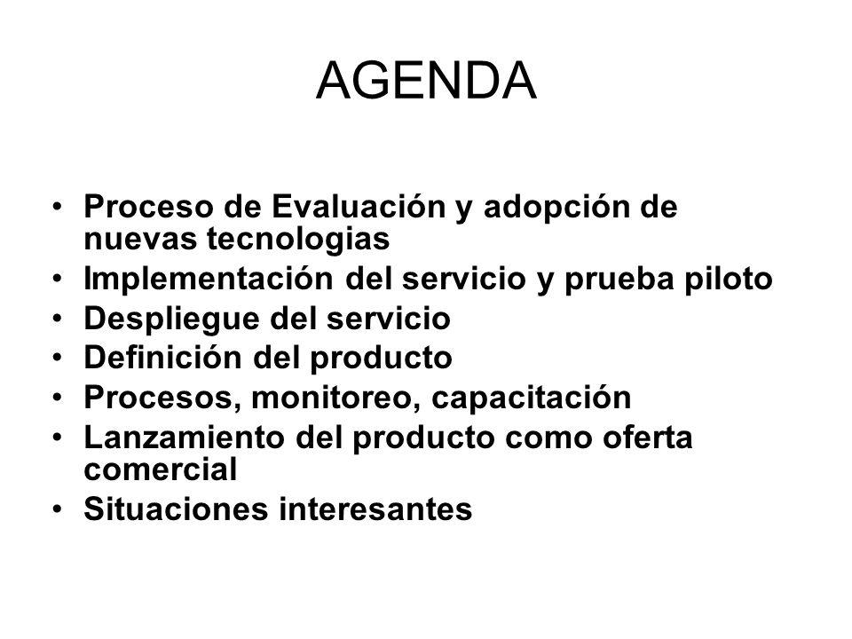 AGENDA Proceso de Evaluación y adopción de nuevas tecnologias